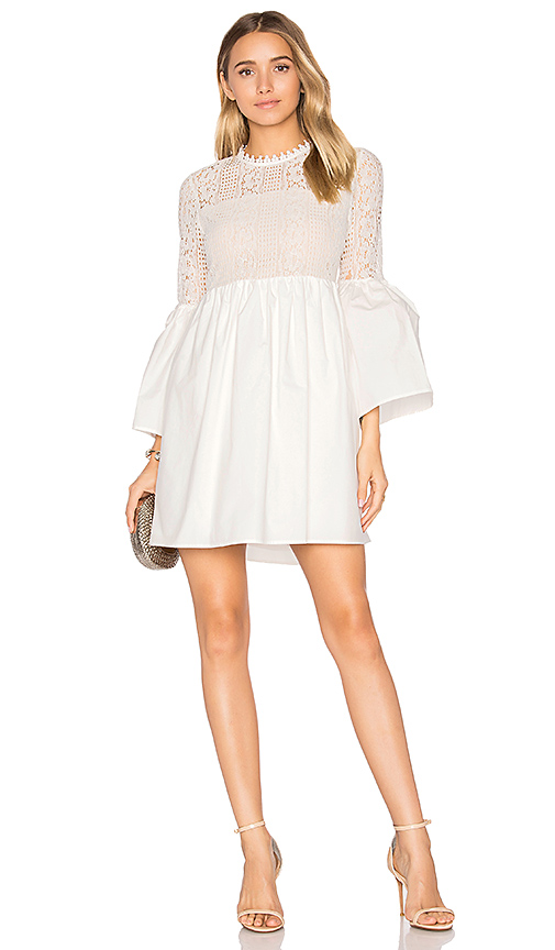 Endless Rose Flare Sleeve Lace Mini Dress in White. - size L (also in S,XS)