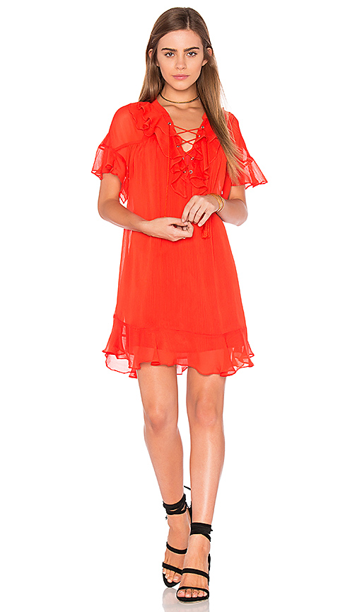 Endless Rose Lace Up Dress in Orange