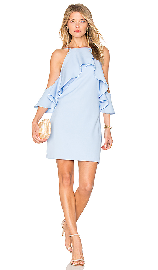 Endless Rose Flared Ruffle Dress in Blue