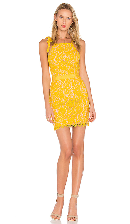 Endless Rose Tied Strap Lace Mini Dress in Yellow