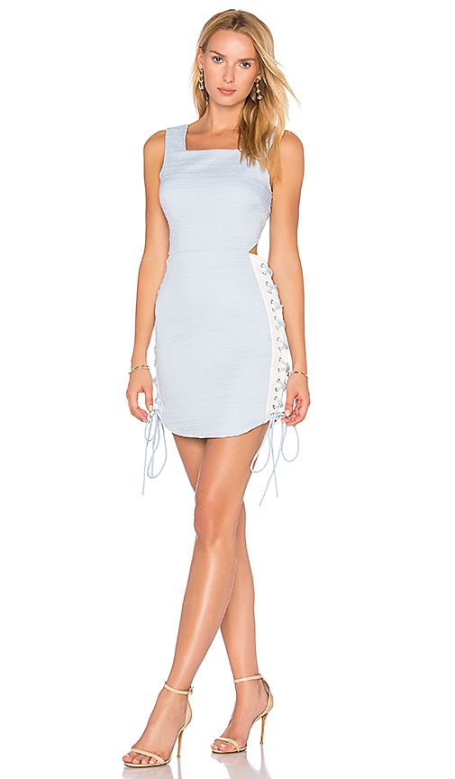 Endless Rose Side Lace Up Dress in Blue