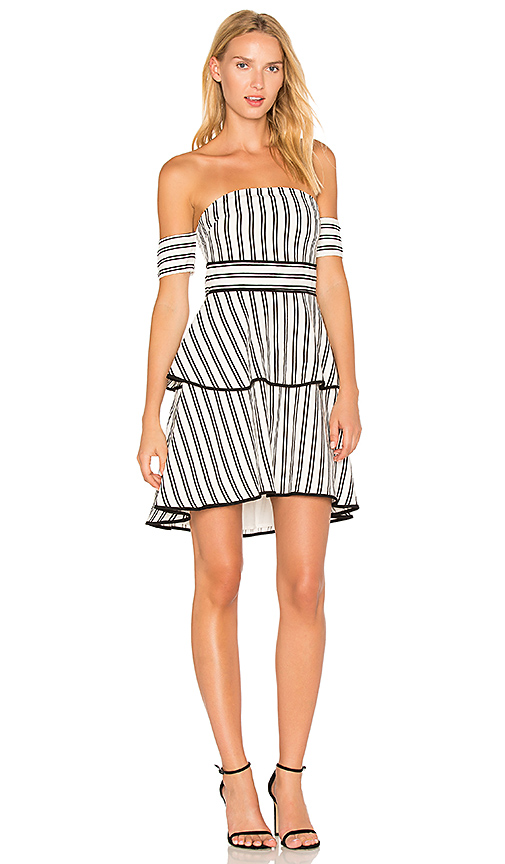 Endless Rose Striped Off the Shoulder High Low Dress in Black & White
