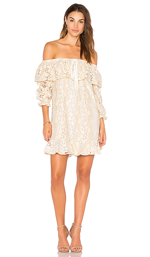 Photo of Endless Rose Off Shoulder Lace Dress With Tie in Beige - shop Endless Rose dresses sales