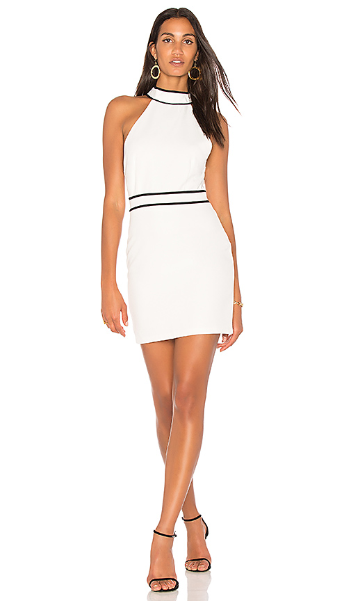 Endless Rose Piping Detail Halter Dress in White