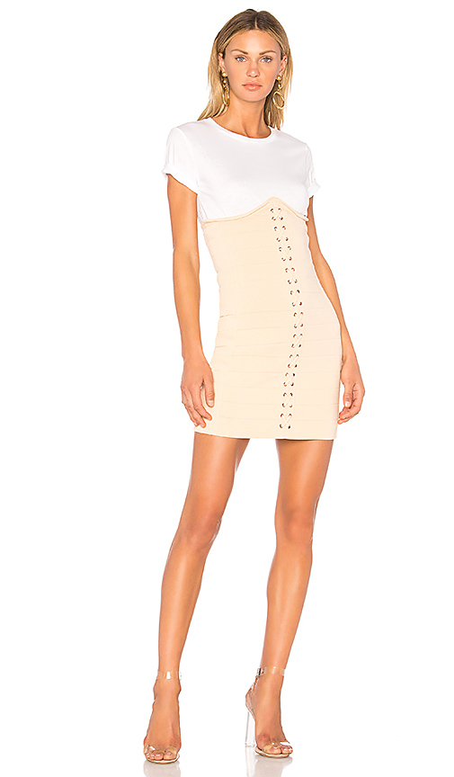 Photo of Endless Rose Knitted Corset T-Shirt Dress in Cream - shop Endless Rose dresses sales