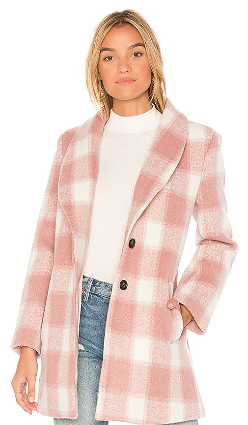 Endless Rose Oversized Checkered Printed Jacket in Pink