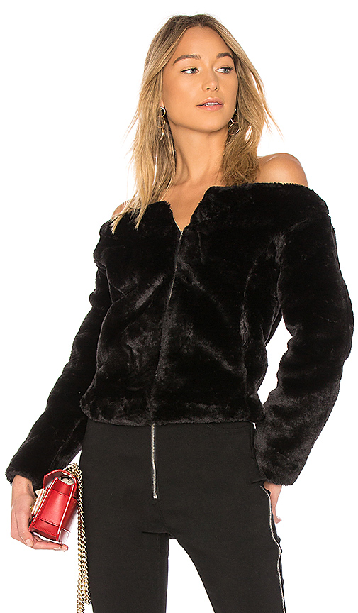 Endless Rose Faux Fur Jacket in Black. - size S (also in L,M)