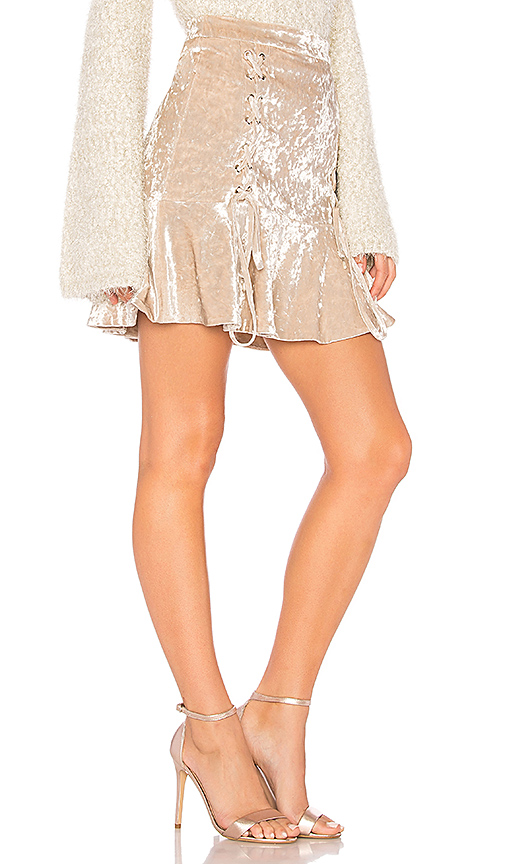Endless Rose Crushed Velvet Mini Skirt in Beige. - size S (also in L,M,XS)