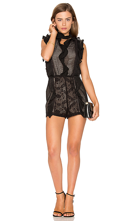Endless Rose Choker Ruffle Detail Romper in Black. - size L (also in M,S,XS)