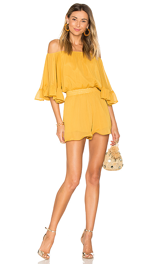 Endless Rose Ruffled Sleeve Romper in Yellow. - size L (also in M,S,XS)