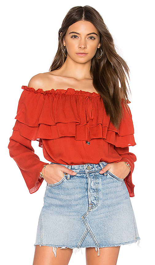 Endless Rose Flared Off The Shoulder Top in Red