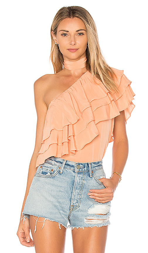Endless Rose One Shoulder Ruffle Overlay Top in Coral