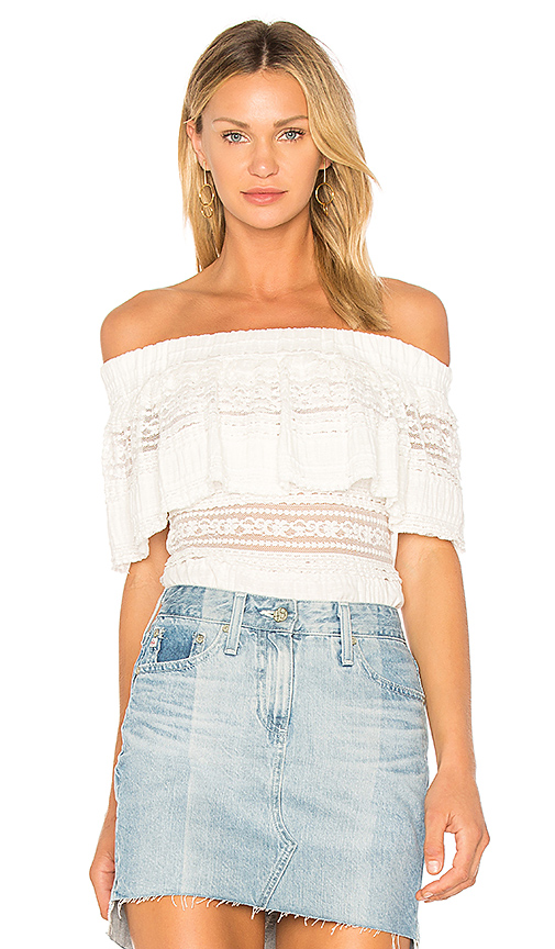 Endless Rose Ruffle Overlay Off The Shoulder Top in White