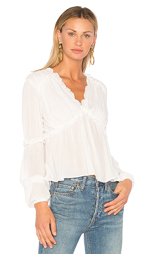 Endless Rose Ruffle Sleeve Accent Top in White