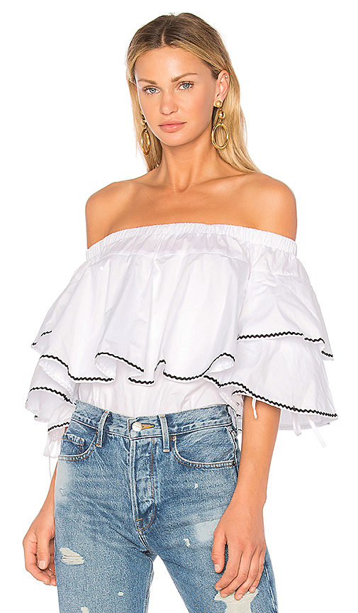 Endless Rose Ruffle Trim Off Shoulder Top in White