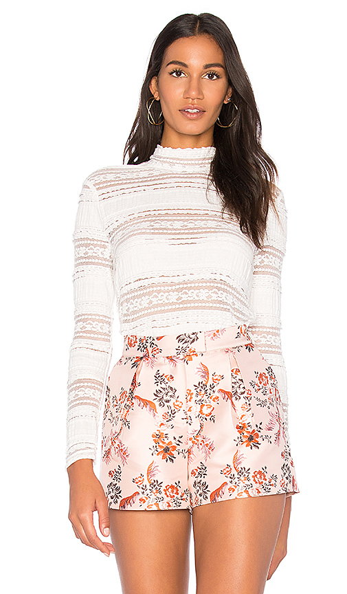 Endless Rose Mock Neck Textured Lace Top in White