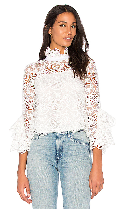 Endless Rose Ribbon Ties Crochet Lace Top in White