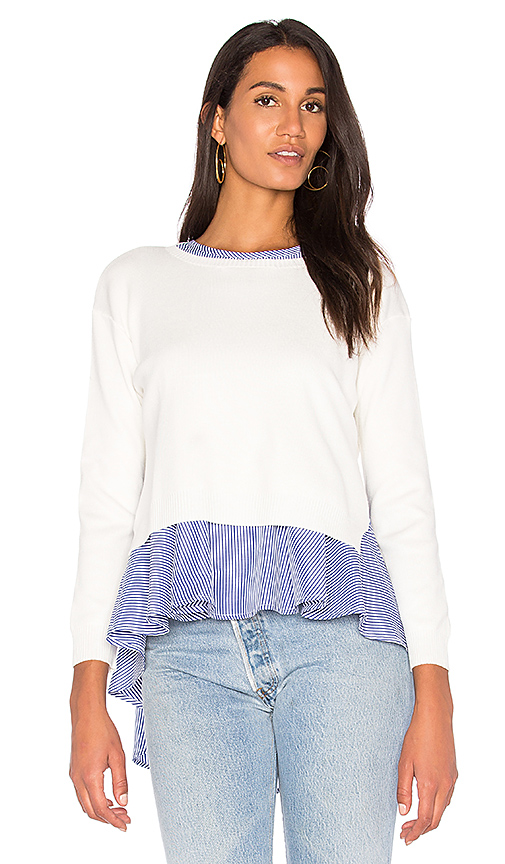 Endless Rose Sweater Combo Stripe Top in White