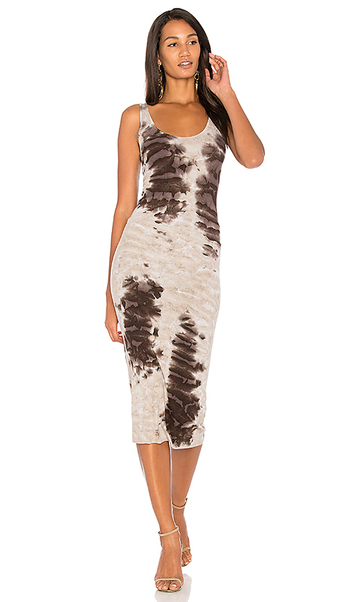 Enza Costa Rib Tank Midi Dress in Taupe