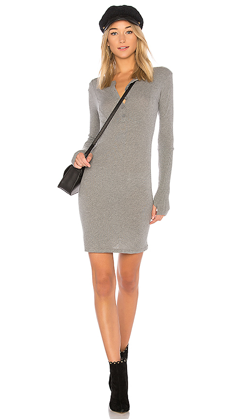 Enza Costa Cashmere Cuffed Mini Dress in Gray