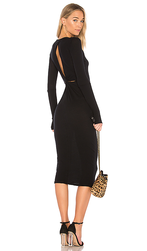 Enza Costa Cashmere Draped Back Midi Dress in Black
