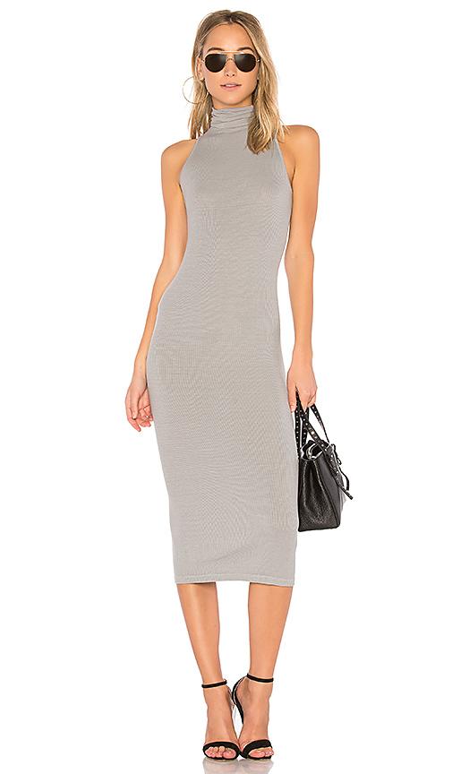 Enza Costa Turtleneck Midi Dress in Gray
