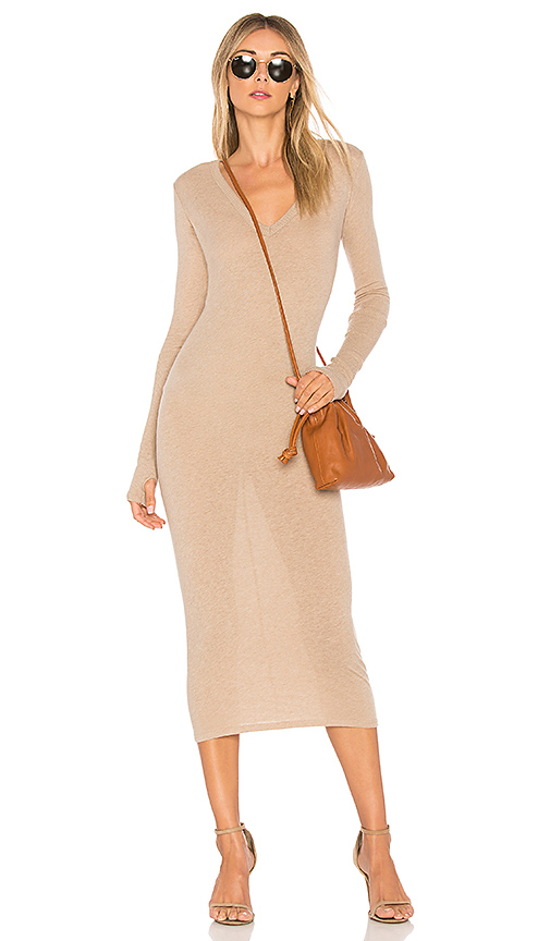 Enza Costa Rib Long Sleeve Dress in Brown