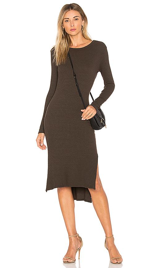 Enza Costa Rib Midi Dress in Olive