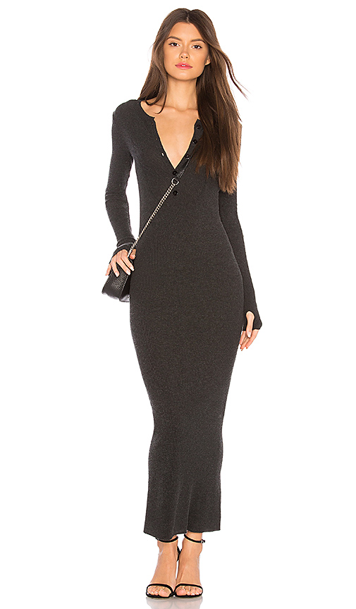 Enza Costa Cashmere Thermal Henley Dress in Charcoal. - size L (also in S,XS)