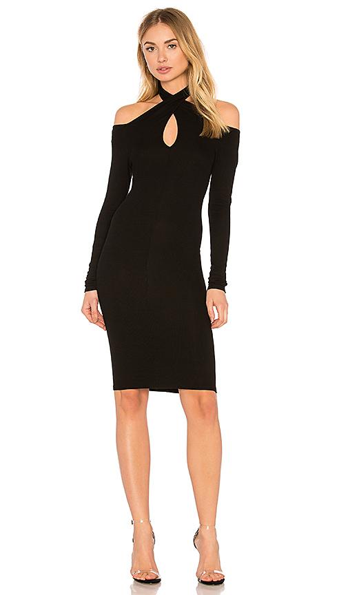 Enza Costa Rib Twist Dress in Black