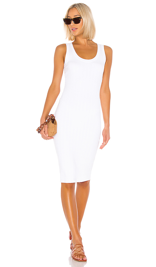Enza Costa Rib Scoop Tank Midi Dress In White