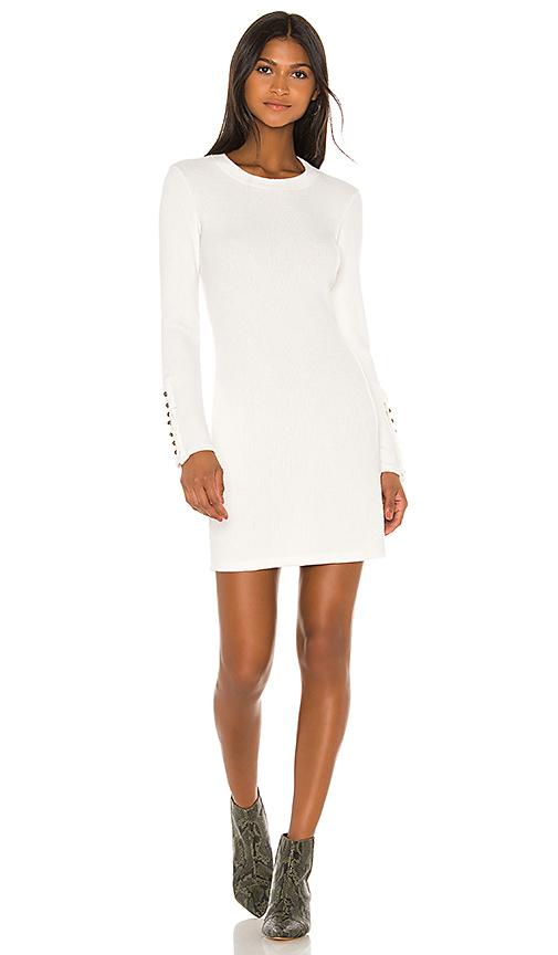 Enza Costa Button Cuff Mini Dress In White. In Winter White