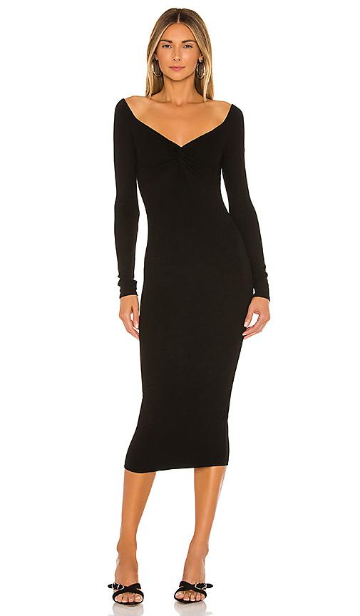 Enza Costa Off The Shoulder Twist Midi Dress In Black.