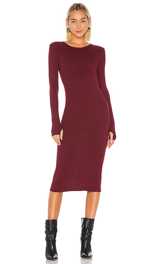 Enza Costa X Revolve Rib Midi Dress In Wine. In Reddened Brown