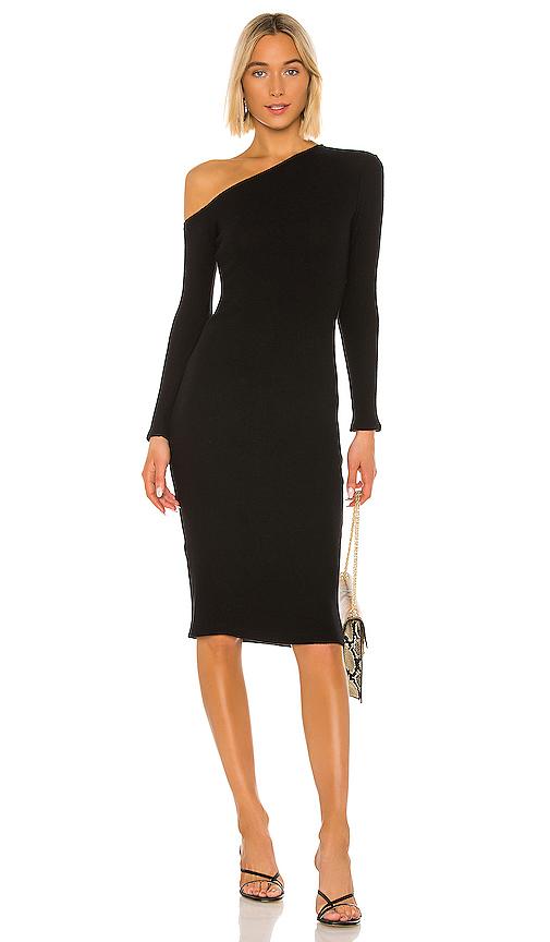 Enza Costa Sweater Knit Angled Midi Dress In Black.