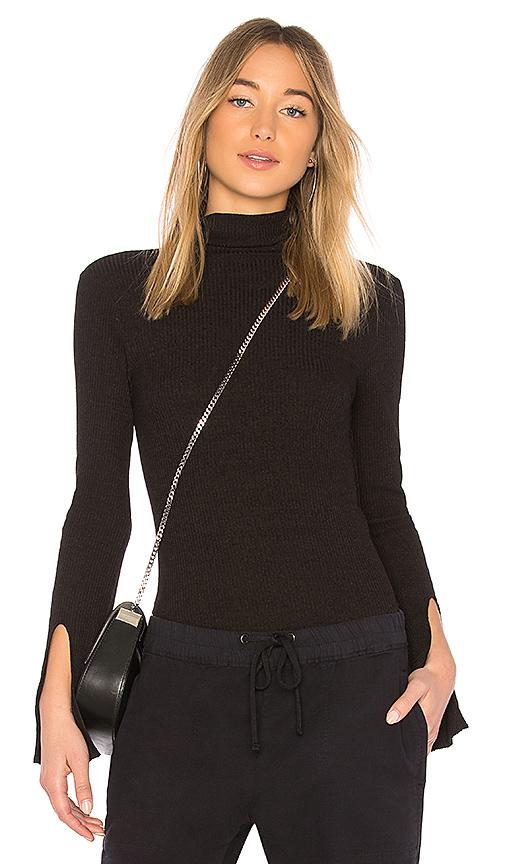 Enza Costa Rib Turtleneck Pullover in Black. - size XS (also in S,M,L)