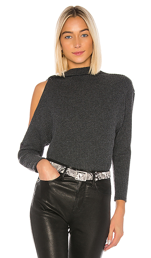 Enza Costa Rib Long Sleeve High Neck Exposed Shoulder Top In Gray In Charcoal