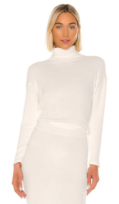 Enza Costa Sweater Knit Cropped Long Sleeve Turtleneck In Winter White