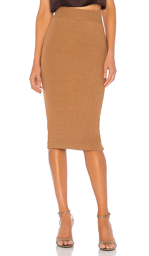 Enza Costa Sweater Knit Midi Skirt In Amber