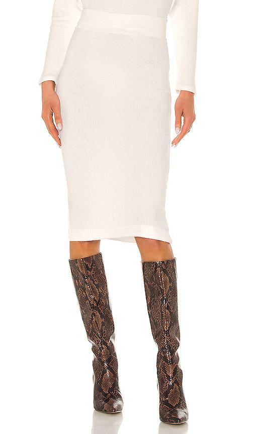 Enza Costa Sweater Knit Midi Skirt In White. In Winter White