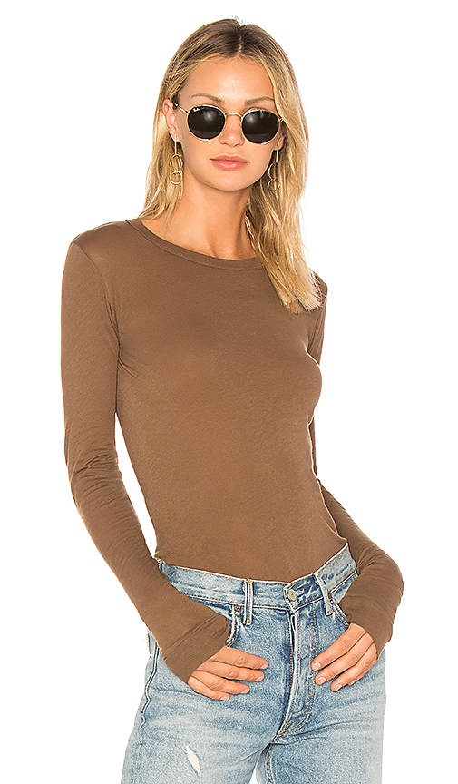 Enza Costa Tissue Jersey Crewneck Tee in Brown