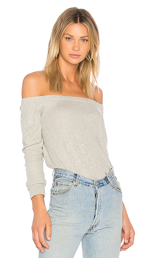 Enza Costa Cashmere Off The Shoulder Top in Gray