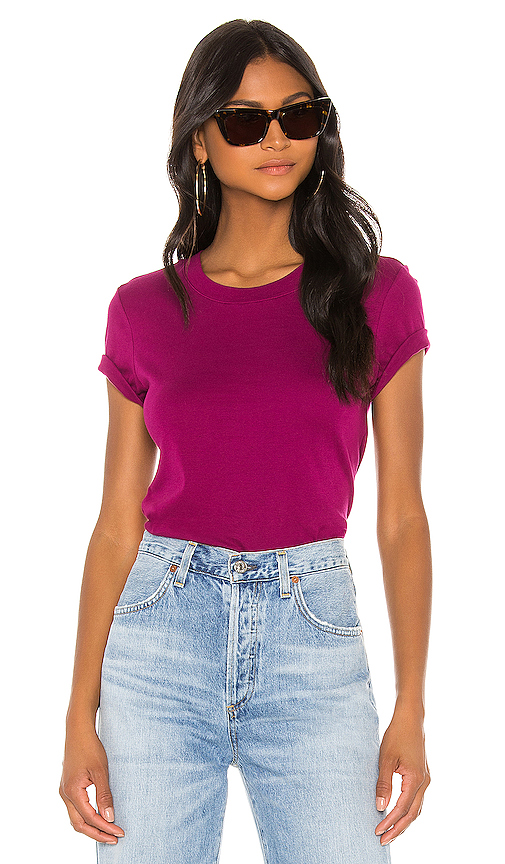 Enza Costa The Perfect Tee In Purple. In Magenta