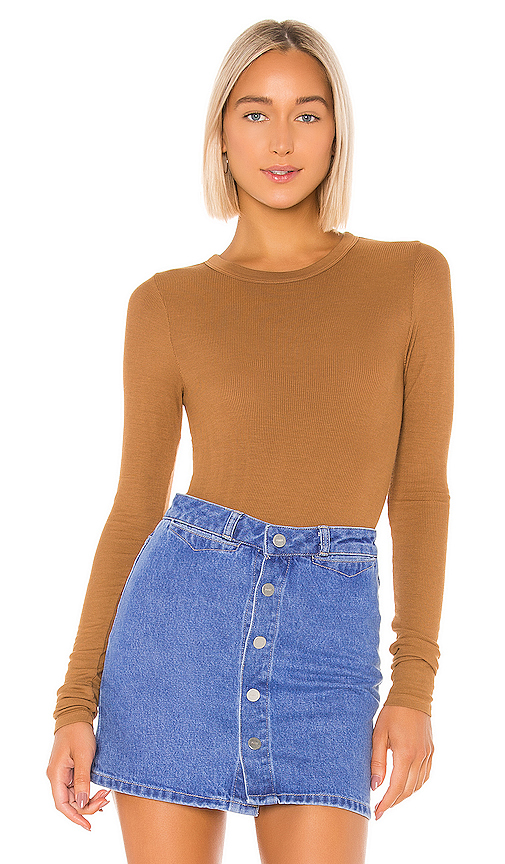 Enza Costa Rib Fitted Long Sleeve V Neck In Brown. In Danish Brown