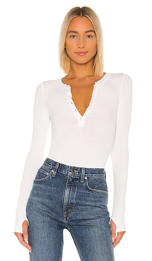Enza Costa Silk Rib Long Sleeve Henley Top In White.