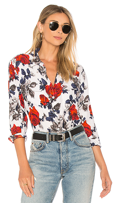 Equipment Signature Floral Shirt in White