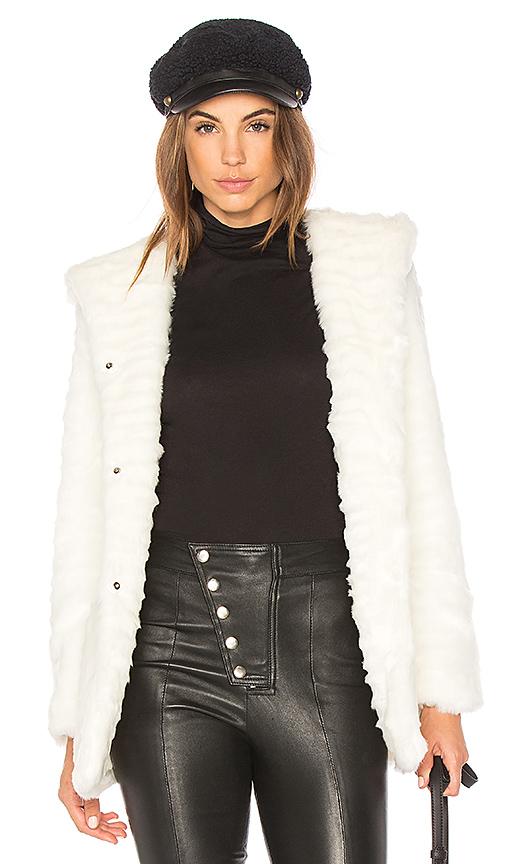Etienne Marcel Indigo Faux Fur Coat in White