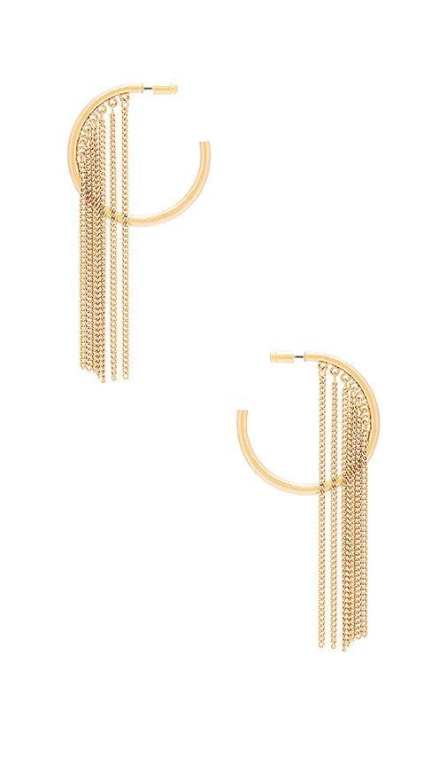 Ettika Hoop Chain Earrings in Metallic Gold.