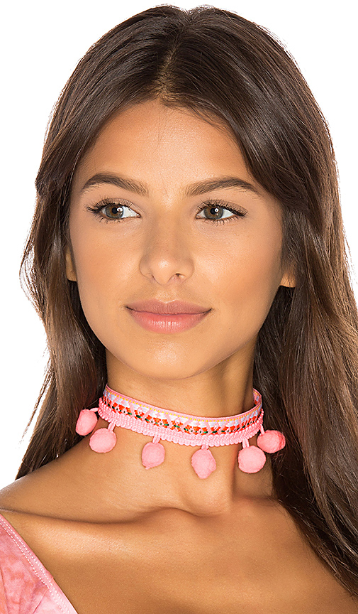 Ettika Pom Pom Choker in Pink