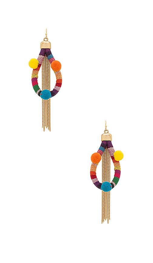 Ettika Dahl Multi Pom Pom Earrings in Red